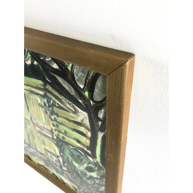 Small framed 1996 abstract expressionist painting of a house on white paper. The scene is depicted in a dark palette of...