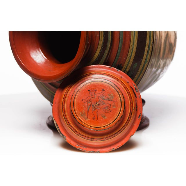 19th Century Antique Burmese Lacquer Ginger Jar For Sale - Image 5 of 7