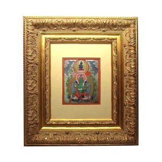 19th Century Vintage Finely Framed Mongolian Buddhist Thangka Green Tara Collection of E&j Frankel Painting For Sale
