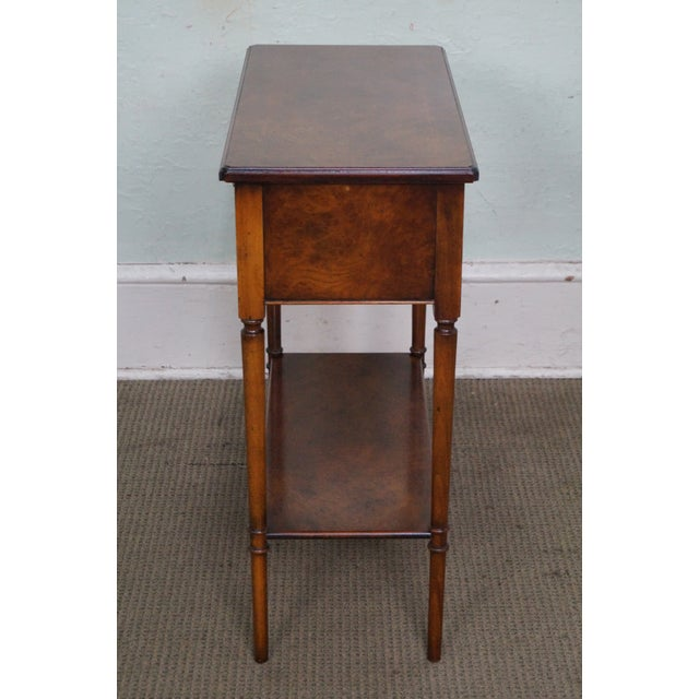 Traditional Yorkshire House Small Burl Wood 2 Drawer Console Table For Sale - Image 3 of 10