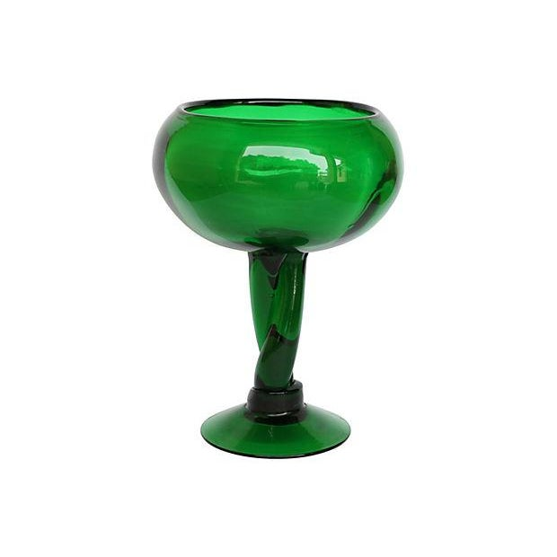 Mid-Century Green Pedestal Bowl - Image 1 of 3