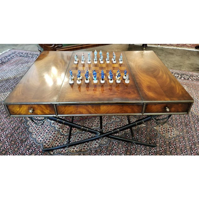 Civil War Themed Mahogany Games Table With Sword Legs For Sale - Image 13 of 13
