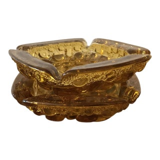 Vintage Amber Glass Ashtrays - a Pair For Sale