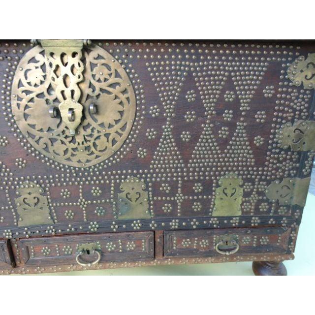 1900 - 1909 Moorish Teak & Brass Studded Trunk For Sale - Image 5 of 9