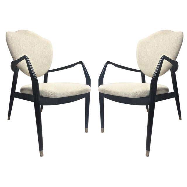 Karl-Erik Ekselius Rare Pair of Black Lacquered Chairs Covered in Alpaca Cloth For Sale