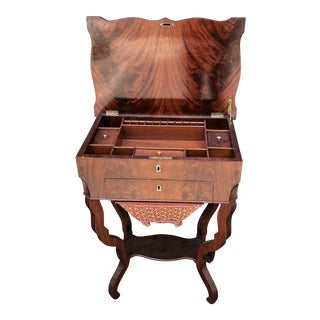 Antique 19th C Flame Mahogany Sewing Table For Sale