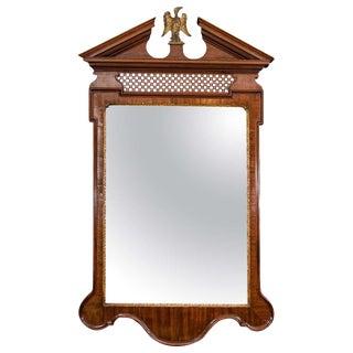 George II Mahogany Fret Panel Mirror For Sale