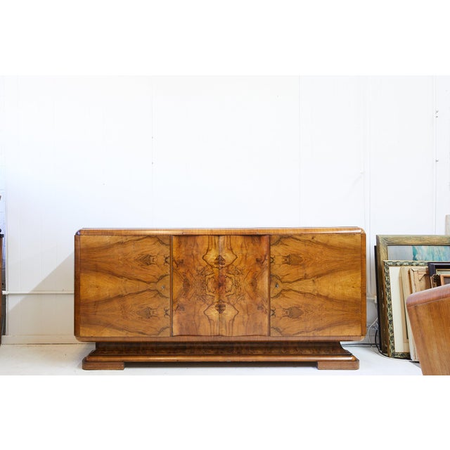 Art Deco Walnut Burl Wood Sideboard or Bar Cabinet For Sale - Image 12 of 13