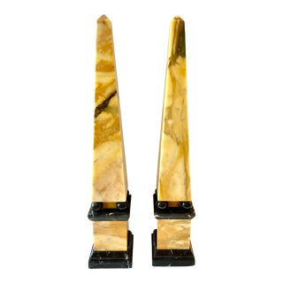 Neoclassical Italian Marble Obelisks- a Pair For Sale