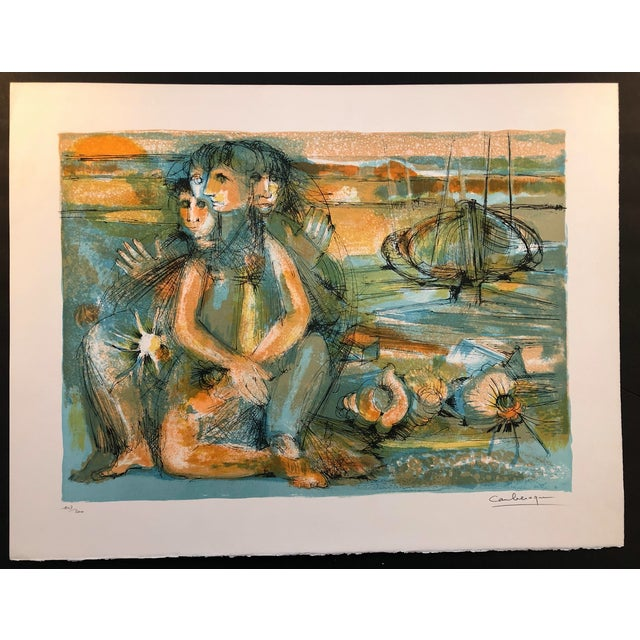 1960s Jean Camberoque French Beach Lithograph For Sale - Image 11 of 12