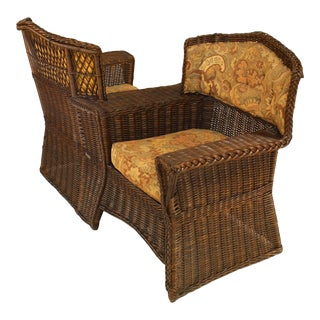 American Victorian Wicker Tete-a-Tete Sofa For Sale