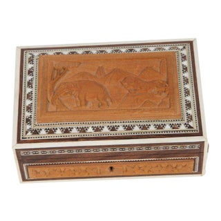 1910s Anglo-Indian Vizagapatam Jewelry Inlaid Box For Sale