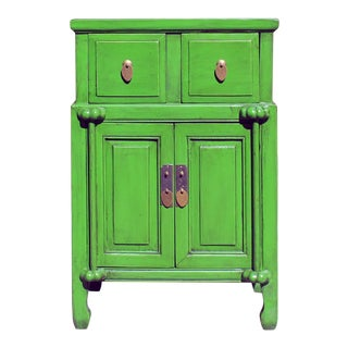 Distressed Oriental Bright Green Solid Wood End Table Nightstand For Sale
