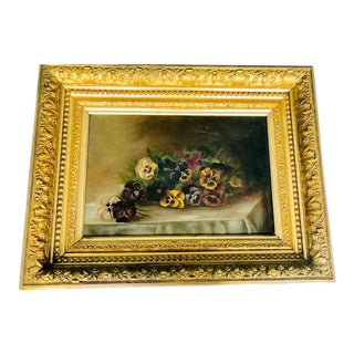 Late 19th Century Antique Floral Still Life Framed Painting For Sale