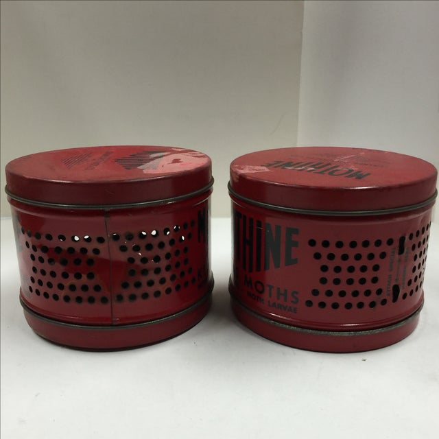 Vintage Red Mothine Tins - A Pair For Sale - Image 5 of 7