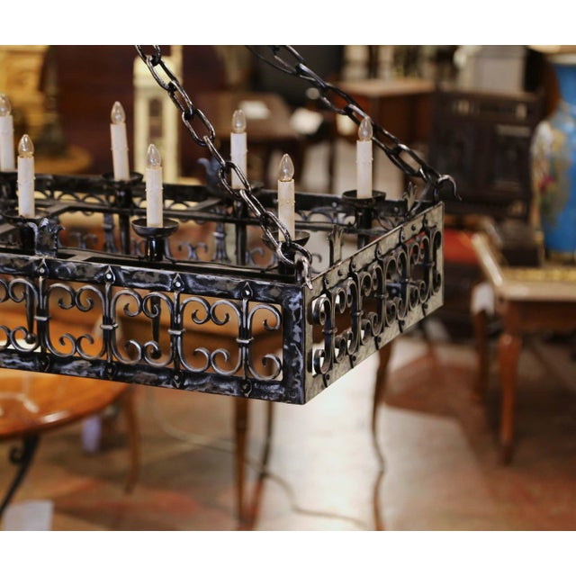 19th Century French Gothic Forged Polished Iron Ten-Light Island Chandelier For Sale - Image 11 of 13