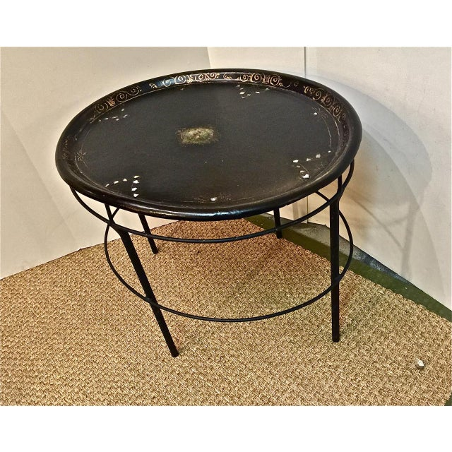 Vintage English Regency Tray on Iron Stand - Image 2 of 7