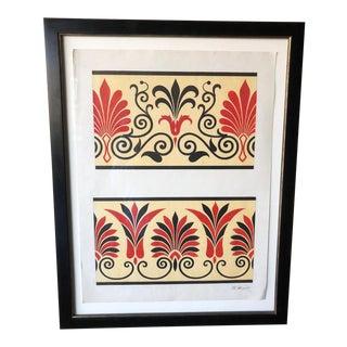 Italian Antique Gouache Painting - Etruscan Frieze For Sale