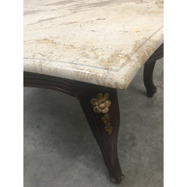 French Louis XV Style Marble Top Walnut Coffee Table For Sale - Image 9 of 10
