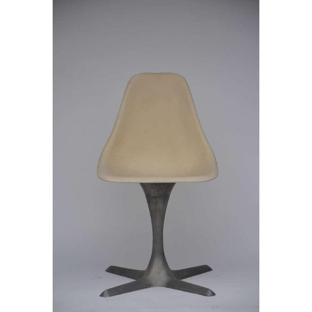 Set of 4 American 70's Brushed Aluminum and Eggshell Chairs For Sale - Image 9 of 9