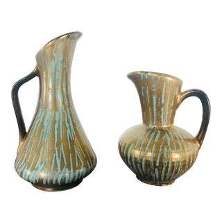 Mid 20th Century Mid-Century Carstens Tonnieshof Gold and Turquoise Drip Pottery Pitchers/Vases - a Pair For Sale