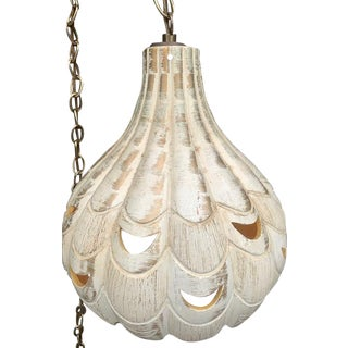 Onion Shaped Pottery Swag Light For Sale