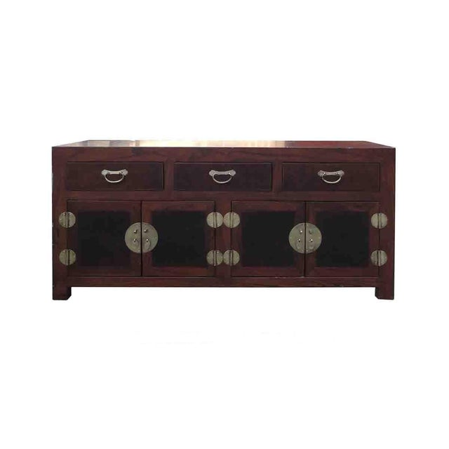Oriental Elm Burlwood Low TV Stand Cabinet For Sale
