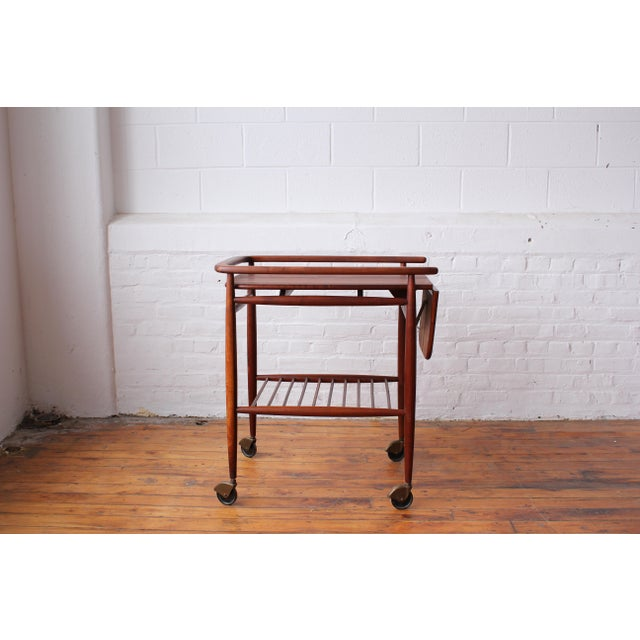 "Brown 1950s Scandinavian Restored ""Boomerang"" Solid Walnut Bar Cart For Sale - Image 8 of 10"