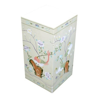 Vintage Chinoiserie Hand Carved and Painted Garden Stool / Side Table Made in Hong Kong For Sale