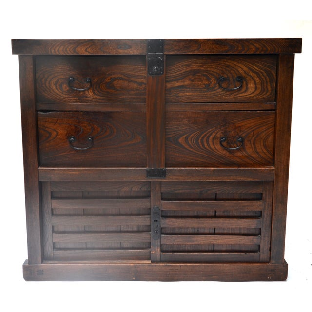 Brown Antique Japanese Choba Tansu With Locking Bar For Sale - Image 8 of 8