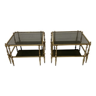 Smoked Glass and Brass Two Tier End Tables - a Pair For Sale