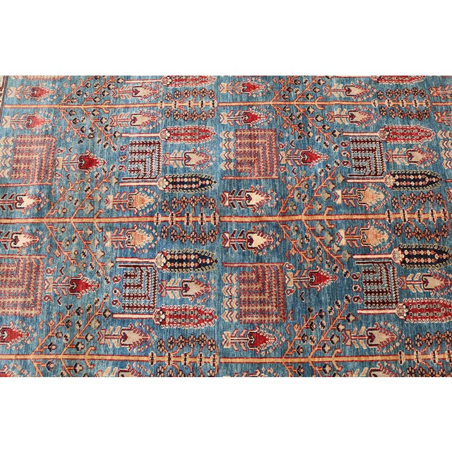 Traditional Bijar Design Blue Multi Color Hand-Knotted Wool Rug - 8′ × 9′ - Image 3 of 6