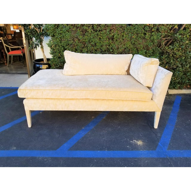 Custom Cream Textured Velvet Chaise With Fabric Covered Legs For Sale - Image 10 of 10