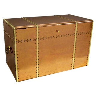 Vintage Copper & Brass Storage Trunk For Sale