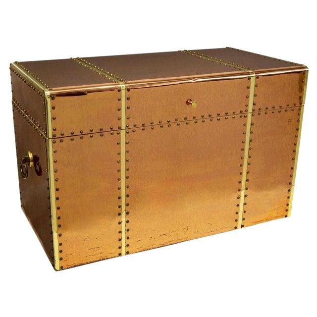 Vintage Copper & Brass Storage Trunk For Sale