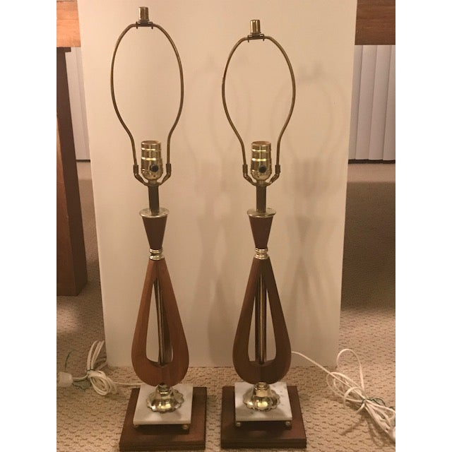 Mid-Century Modern Mid-Century Modern Wood Table Lamps - A Pair For Sale - Image 3 of 7