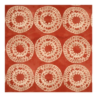 Justina Blakeney Lakai Printed Cotton and Linen Fabric, Coral For Sale