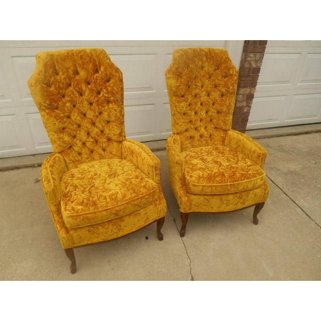 Hollywood Regency High Back Tufted Chairs - A Pair - Image 3 of 8