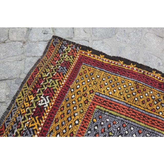 Tribal Vintage Vivid Color Cicim Kilim Rug - 3′4″ × 3′5″ For Sale In Baltimore - Image 6 of 13