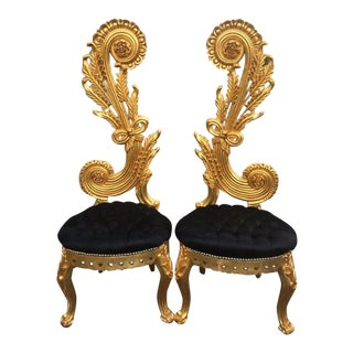 Italian Design With Black Velvet Custom Made Chairs - a Pair For Sale