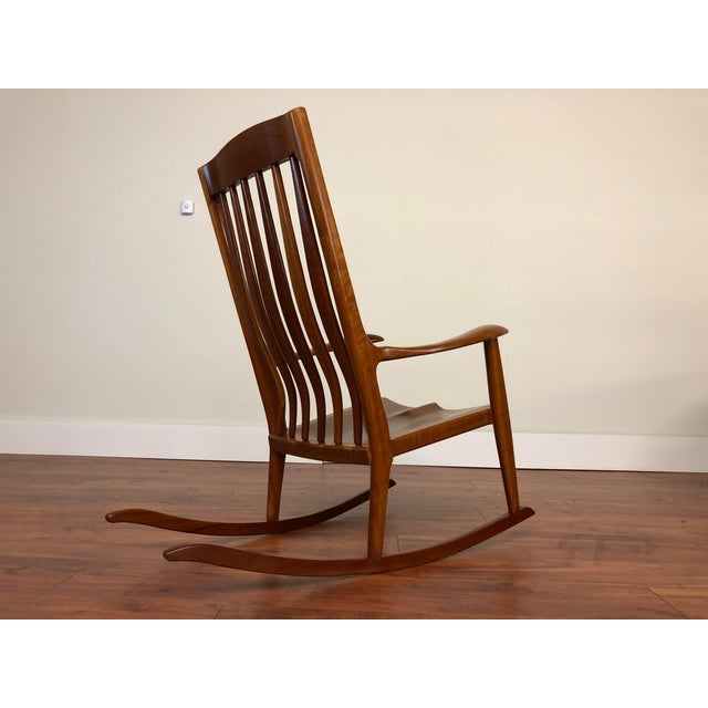American Studio Hand Made Cherry Rocking Chair by Ed Steckmest For Sale - Image 3 of 13