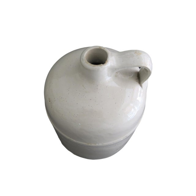 Cottage Antique Small White Whiskey Crock Stoneware Jug For Sale - Image 3 of 5
