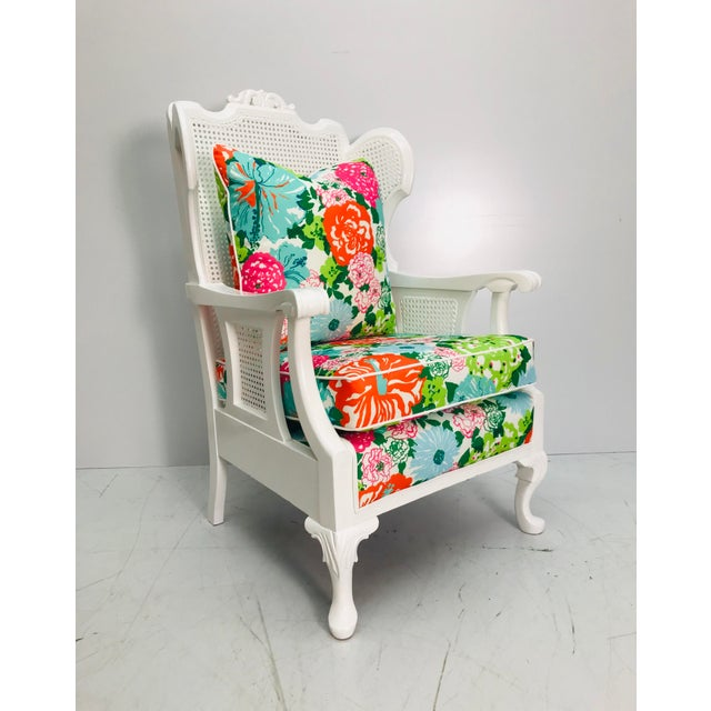 White Vintage Caned Wing Chair With Lilly Pulitzer Outdoor Fabric For Sale - Image 8 of 8