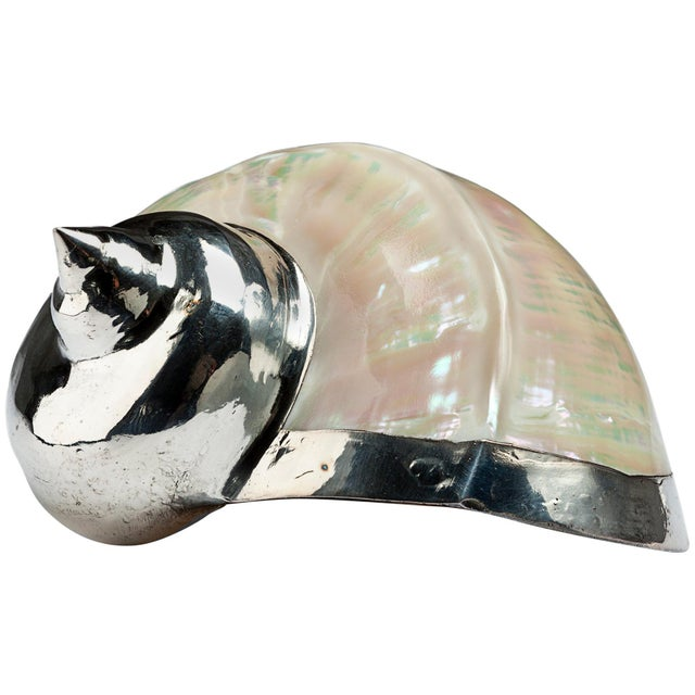 Diana Mother of Pearl Partially Silvered Sea Shell For Sale In New York - Image 6 of 6