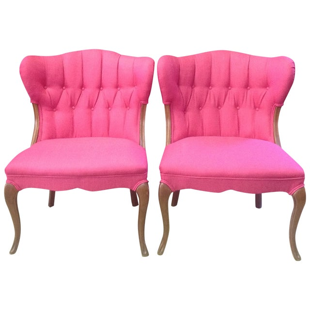 Hot Pink Regency-Style Chairs- A Pair - Image 1 of 6