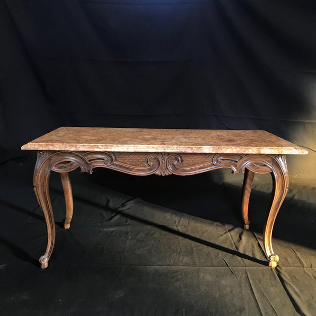 Louis XV Style Carved French Coffee Table With Marble Top For Sale - Image 9 of 9