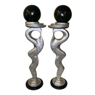 Late 20th Century Modern Abstract Candlesticks - a Pair For Sale