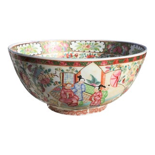 Vintage Chinoiserie Style Rose Mandarin / Rose Medallion Center Bowl /Punch Bowl For Sale