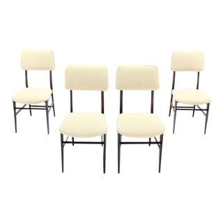 Early 20th Century Vintage Italian Modern Walnut Dining Chairs- Set of 4 For Sale