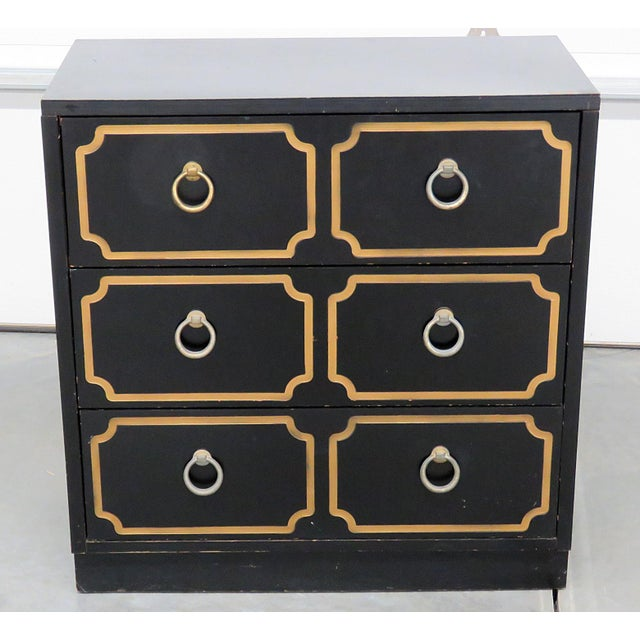 Dorothy Draper style 3 drawer ebonized chest. In the style of mid-century modern.
